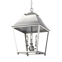 Feiss Galloway 3 Light Pendant in Polished Nickel with White Stainless Steel Shade F3089/3PN