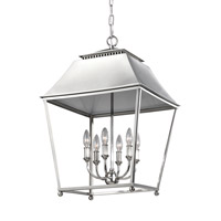 Feiss Galloway 6 Light Pendant in Polished Nickel with White Stainless Steel Shade F3090/6PN
