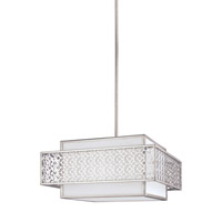 Feiss Kenney 3 Light Pendant in Sunrise Silver with White Linen Fabric Shade F3103/3SRS