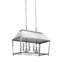 Feiss F3105/6PN Galloway 6 Light 19 inch Polished Nickel Chandelier Ceiling Light in Polished Nickel with White Stainless Steel