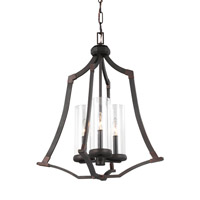 Feiss Jacksboro 3 Light Chandelier in Dark Antique Copper and Antique Copper with Clear Glass F3110/3DAC/AC