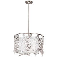 Lexi 3 Light 19 inch Polished Nickel Pendant Ceiling Light, Sandblast Glass, White Shantung