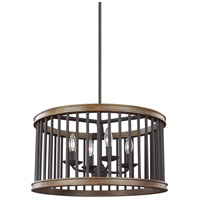 Locke 4 Light 21 inch Weathered Rustic Iron and Textured Weathered Oak Pendant Ceiling Light