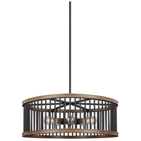 Locke 5 Light 30 inch Weathered Rustic Iron and Textured Weathered Oak Pendant Ceiling Light