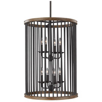 Locke 8 Light 21 inch Weathered Rustic Iron and Textured Weathered Oak Foyer Lantern Ceiling Light