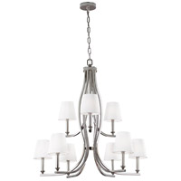 Feiss F3118/9PN Pave 9 Light 34 inch Polished Nickel Chandelier Ceiling Light, White Shantung