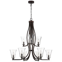 Feiss Marteau 9 Light Chandelier in Oil Rubbed Bronze with Clear Seeded Glass F3119/9ORB