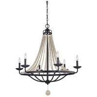 Nori 6 Light 33 inch Dark Weathered Zinc and Driftwood Grey Chandelier Ceiling Light