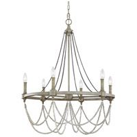 Beverly 6 Light 28 inch French Washed Oak and Distressed White Wood Chandelier Ceiling Light