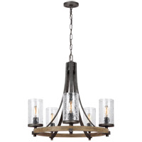 Angelo 5 Light 24 inch Distressed Weathered Oak and Slated Grey Metal Chandelier Ceiling Light