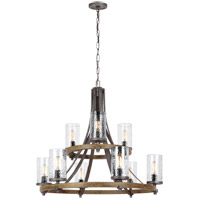 Angelo 9 Light 33 inch Distressed Weathered Oak and Slated Grey Metal Chandelier Ceiling Light