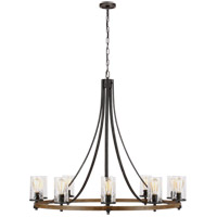 Feiss F3137/10DWK/SGM Angelo 10 Light 48 inch Distressed Weathered Oak / Slate Grey Metal Chandelier Ceiling Light