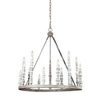 Feiss F3142/15DFB/DWH Norridge 15 Light 30 inch Distressed Fence Board and Distressed White Chandelier Ceiling Light