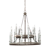Norridge 24 Light 30 inch Distressed Fence Board and Distressed White Chandelier Ceiling Light
