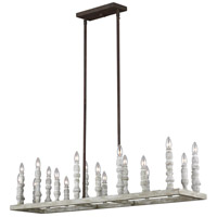 Feiss F3144/20DFB/DWH Norridge 20 Light 12 inch Distressed Fence Board / Distressed White Chandelier Ceiling Light
