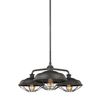Lennex 3 Light 32 inch Slated Grey Metal Chandelier Ceiling Light