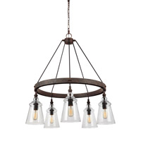 Loras 5 Light 27 inch Dark Weathered Iron Chandelier Ceiling Light
