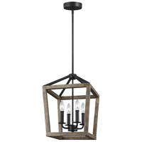 Feiss F3190/4WOW/AF Gannet 4 Light 12 inch Weathered Oak Wood and Antique Forged Iron Chandelier Ceiling Light
