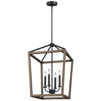 Gannet 4 Light 18 inch Weathered Oak Wood and Antique Forged Iron Chandelier Ceiling Light