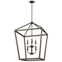 Gannet 6 Light 26 inch Weathered Oak Wood and Antique Forged Iron Chandelier Ceiling Light