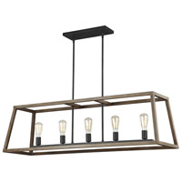 Feiss F3193/5WOW/AF Gannet 5 Light 14 inch Weathered Oak Wood and Antique Forged Iron Chandelier Ceiling Light