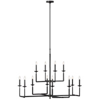 Feiss F3290/12AI Ansley 12 Light 44 inch Aged Iron Chandelier Ceiling Light