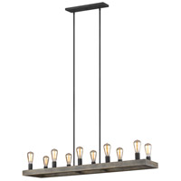 Feiss F3931/10WOW/AF Avenir 10 Light 12 inch Weathered Oak Wood / Antique Forged Iron Chandelier Ceiling Light
