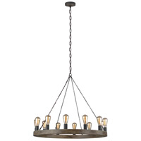 Feiss F3932/12WOW/AF Avenir 12 Light 36 inch Weathered Oak Wood / Antique Forged Iron Chandelier Ceiling Light