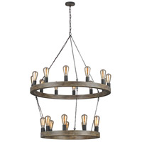 Feiss F3934/21WOW/AF Avenir 21 Light 36 inch Weathered Oak Wood / Antique Forged Iron Chandelier Ceiling Light