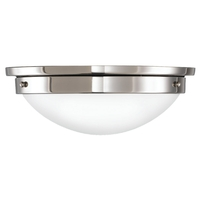 Feiss American Foursquare 2 Light Flush Mount in Polished Nickel FM228PN