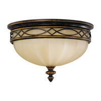 Drawing Room 3 Light 14 inch Walnut Flush Mount Ceiling Light in Fluorescent, Amber Snow Scavo Glass
