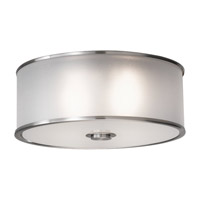 Casual Luxury 2 Light 13 inch Brushed Steel Flush Mount Ceiling Light in Fluorescent, Silver Organza Fabric