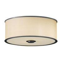 Casual Luxury 2 Light 13 inch Dark Bronze Flush Mount Ceiling Light in Fluorescent, Bronze Organza