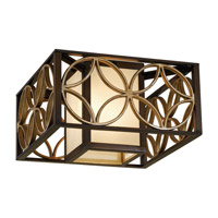 Remy 2 Light 15 inch Heritage Bronze and Parissiene Gold Flush Mount Ceiling Light in Fluorescent