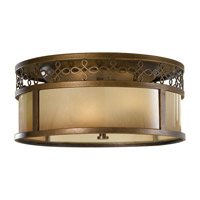 Justine 3 Light 15 inch Astral Bronze Flush Mount Ceiling Light in Fluorescent