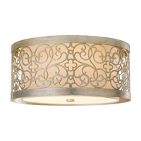 Arabesque 2 Light 15 inch Silver Leaf Patina Flush Mount Ceiling Light in Standard
