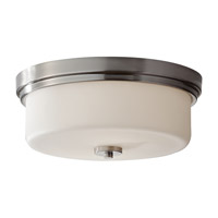 Kincaid 2 Light 13 inch Brushed Steel Flush Mount Ceiling Light in Fluorescent