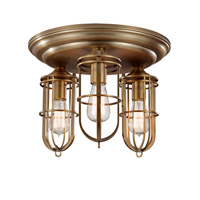 Urban Renewal 3 Light 15 inch Dark Antique Brass Flush Mount Ceiling Light in Standard