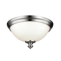 Parkman 2 Light 13 inch Brushed Steel Flush Mount Ceiling Light in Standard