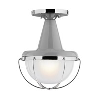 Feiss Livingston 1 Light Outdoor Lantern Flushmount in High Gloss White and Polished Nickel OL14013HGW/PN