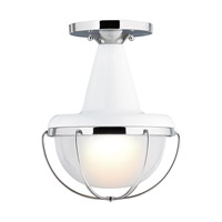 Feiss Livingston 1 Light Outdoor Lantern Flushmount in High Gloss Gray and Polished Nickel OL14013HGG/PN