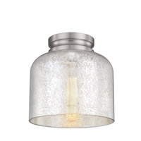 Feiss FM408BS Hounslow 1 Light 9 inch Brushed Steel Flush Mount Ceiling Light in Silver Mercury Plating Glass