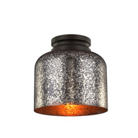 Feiss FM408ORB Hounslow 1 Light 9 inch Oil Rubbed Bronze Flush Mount Ceiling Light in Brown Mercury Plating Glass