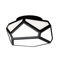 Diamond 2 Light 13 inch Black Flush Mount Ceiling Light in Fluorescent