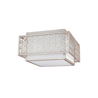 Feiss Kenney 2 Light Flush Mount in Sunrise Silver with White Linen Fabric Shade FM499SRS