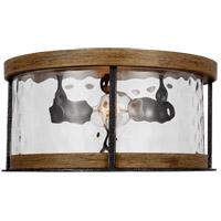 Feiss FM530DWK/SGM Angelo 2 Light 14 inch Distressed Weathered Oak / Slate Grey Metal Flush Mount Ceiling Light