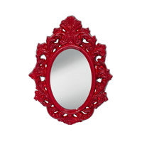Resplendent 32 X 25 inch Crimson Lacquer Mirror Home Decor