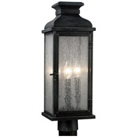 Pediment 2 Light 20 inch Dark Weathered Zinc Outdoor Post Lantern