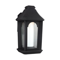 Feiss Ellerbee LED Outdoor Wall Lantern in Textured Black with Etched Painted White with Clear Seeded Glass OL11503TXB-LED
