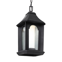 Feiss Ellerbee LED Outdoor Pendant in Textured Black with Etched Painted White with Clear Seeded Glass OL11509TXB-LED